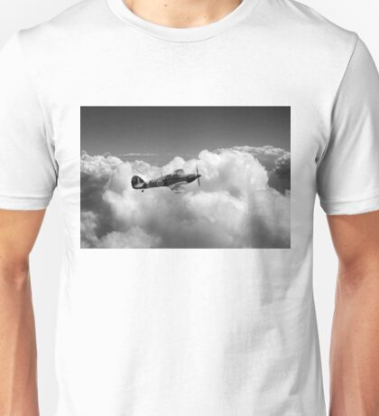 Hawker Hurricane above clouds B&W version Unisex T-Shirt