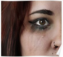 Woman crying with streaked make-up Poster