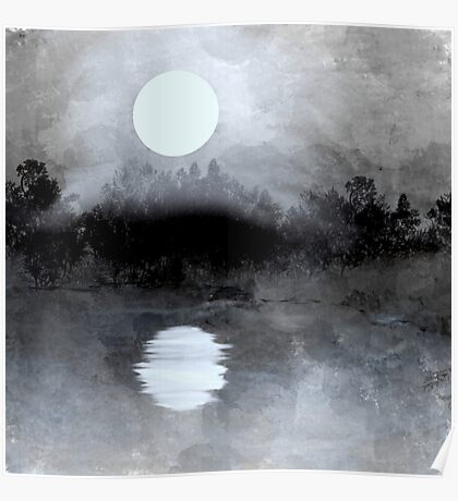 Glowing Moon Landscape in Gray Poster
