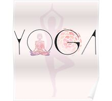 yoga lotussitz namaste indien sport meditation rose pink blume  budda Poster
