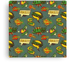 Seamless pattern with comic style phrases Canvas Print