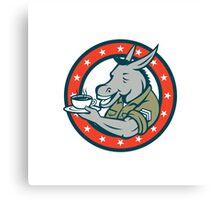 Army Sergeant Donkey Coffee Circle Cartoon Canvas Print