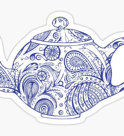 Paisley Patterned Teapot - Blue Sticker