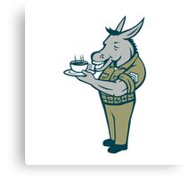 Donkey Sergeant Army Standing Drinking Coffee Cartoon Canvas Print