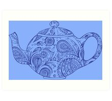 Paisley Patterned Teapot - blue on blue Art Print