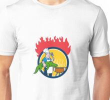 Chef Alligator Spatula BBQ Grill Fire Circle Cartoon Unisex T-Shirt
