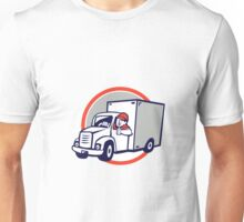 Delivery Van Driver Thumbs Up Circle Cartoon Unisex T-Shirt