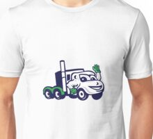 Semi Truck Rig Waving Cartoon Unisex T-Shirt