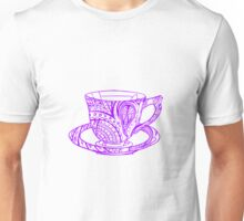 Paisley Patterned Cup and Saucer - Purple Unisex T-Shirt