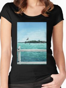West Cliff Across the Water Women's Fitted Scoop T-Shirt