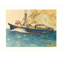 ROYAL QUARRY Oregon Fish Boat Cathy Peek Nautical Chart Map Art Print