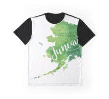 Alaska Watercolor Map - Juneau Hand Lettering - Giclee Print of Original Art Graphic T-Shirt