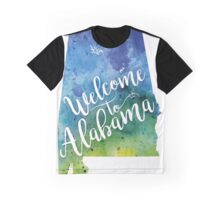 Alabama Watercolor Map - Welcome to Alabama Hand Lettering - Giclee Print of Original Art Graphic T-Shirt