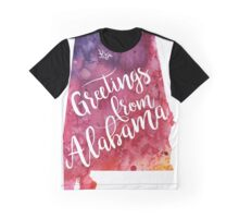 Alabama Watercolor Map - Greetings from Alabama Hand Lettering - Giclee Print of Original Art Graphic T-Shirt