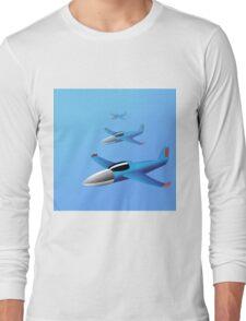 Blue cartoon plane Long Sleeve T-Shirt