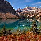 Bow Lake reflection in Fall, Icefields Parkway National Park, Alberta, Canada by PhotosEcosse