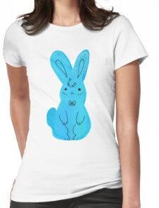 Blue Bunny Watercolor Womens Fitted T-Shirt