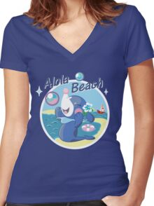 Alola Beach Women's Fitted V-Neck T-Shirt