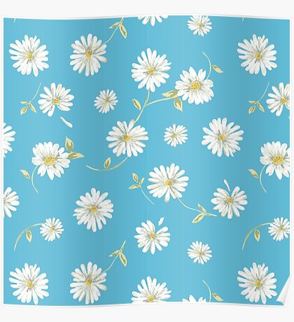 Spoon flowers, white,green,yellow,blue background,modern,trendy,cute,girly Poster