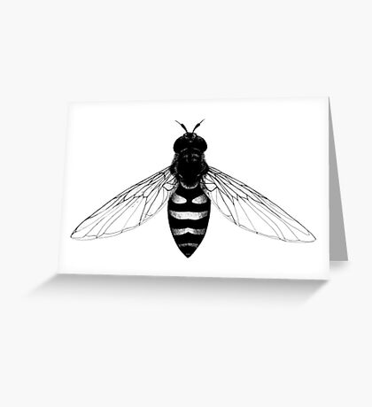 Flying Bee - insect illustration Greeting Card