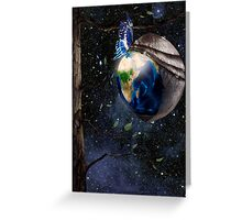 New planet Earth reborn from butterfly cocoon in cosmos art photo print Greeting Card