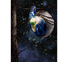 New planet Earth reborn from butterfly cocoon in cosmos art photo print Photographic Print