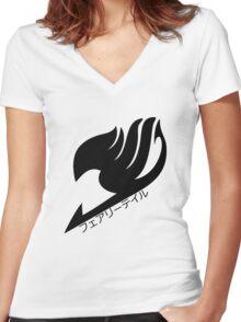 Fairy tail logo (Black) Women's Fitted V-Neck T-Shirt