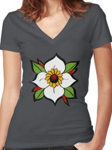 Neo Trad Flower Women's Fitted V-Neck T-Shirt
