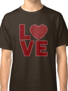 Vintage Anchor Pattern Heart Love, Distressed in Red Classic T-Shirt