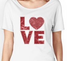 Vintage Anchor Pattern Heart Love, Distressed in Red Women's Relaxed Fit T-Shirt