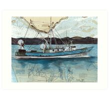 BLUE HORIZON Fishing Boat Cathy Peek Nautical Chart Map Oregon Art Print