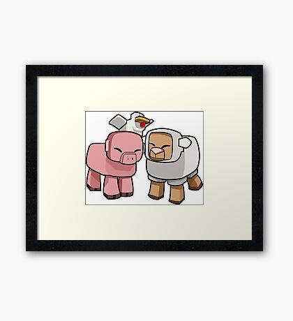 Minecraft Animals - Minecraft Chicken, Minecraft Pig, and Minecraft Sheep Framed Print