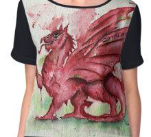 Welsh Dragon Watercolour Chiffon Top