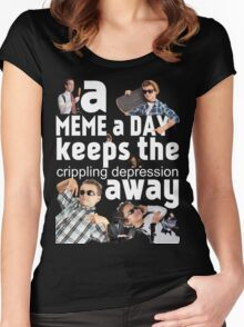 A Meme a Day Keeps the crippling depression away Women's Fitted Scoop T-Shirt
