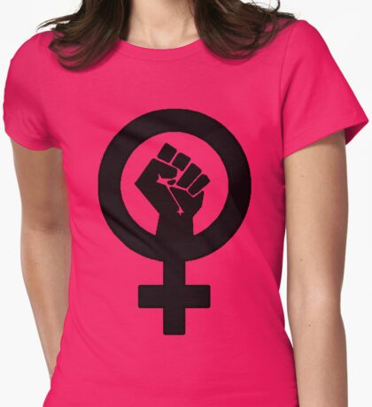 Black Feminist Power Fist Womens Fitted T-Shirt