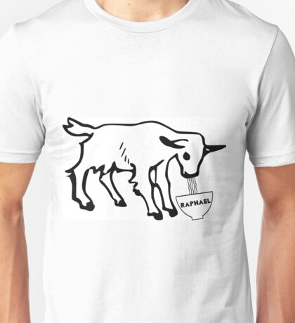 Goat eating noodles Unisex T-Shirt