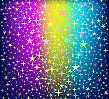 Colorful Star Rain on Glowing Background by amovitania