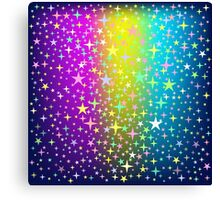 Colorful Star Rain on Glowing Background Canvas Print