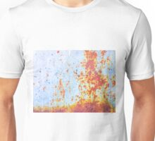 rusty old metal with blue color background Unisex T-Shirt