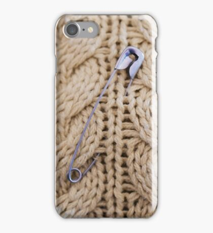 Cable Knit Safety Pin iPhone Case/Skin