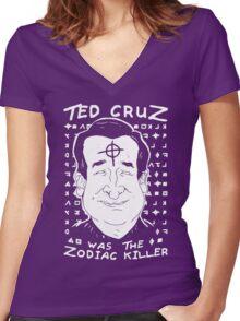 Ted Cruz Zodiac Killer Women's Fitted V-Neck T-Shirt