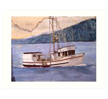 RAVEN Longline Boat Cathy Peek Nautical Chart Map Oregon Art Print