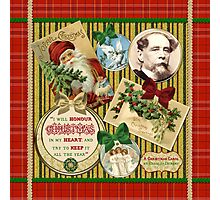 Christmas Carol Charles Dickens Traditional Plaid Classic Quote Photographic Print