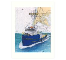 SEA SICK II Crab Fishing Boat Cathy Peek Nautical Chart Map Oregon Art Print