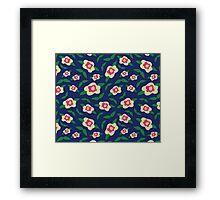 Floral Pattern | Deep Navy Framed Print