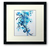 Blue Floral Watercolor Framed Print