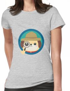 Dog detective with magnifying glass Womens Fitted T-Shirt