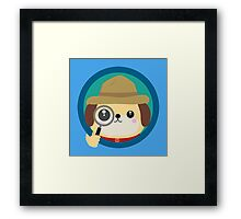 Dog detective with magnifying glass Framed Print