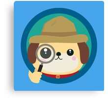 Dog detective with magnifying glass Canvas Print