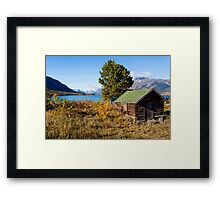 Log shack on Lake Bennet Yukon Territory YT Canada Framed Print